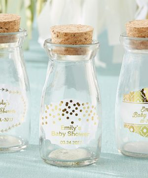 Vintage Milk Bottle Favor Jar - Gold Foil (Set of 12) (Personalization Available)
