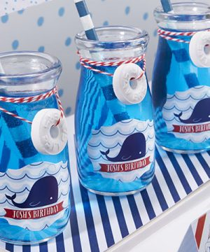 Vintage Milk Bottle Favor Jar - Nautical Birthday (Set of 12) (Personalization Available)
