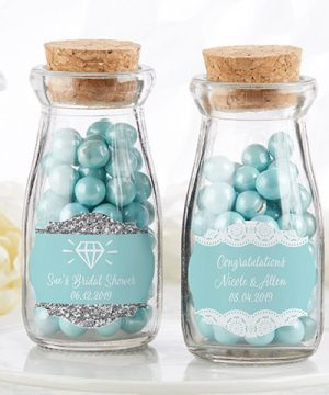 Vintage Milk Bottle Favor Jar - Something Blue (Set of 12) (Personalization Available)