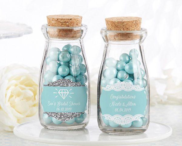 Vintage Milk Bottle Favor Jar - Something Blue (Set of 12) (Personalization Available)