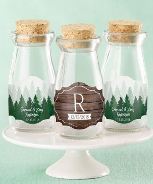Vintage Milk Bottle Favor Jar - Winter (Set of 12) (Personalization Available)