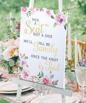 Watercolor Wedding Ceremony Seating Sign