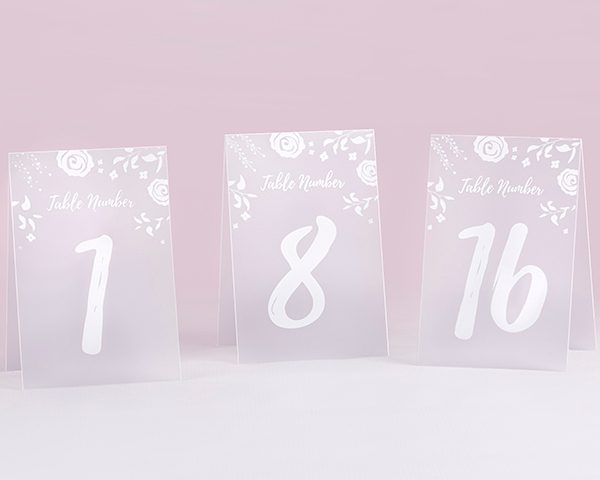 White Frosted Floral Tented Table Numbers (1-18)