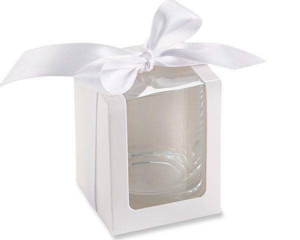 White Shot Glass/Votive Holder Gift Box (Set of 12)