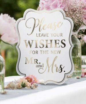 White & Gold Wedding Sign Set