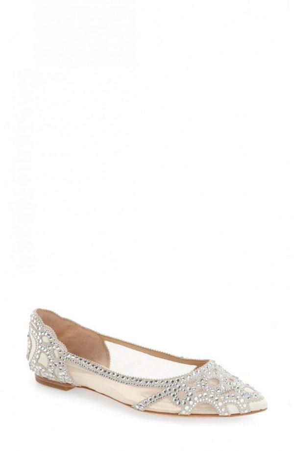 Women's Badgley Mischka Gigi Crystal Pointy Toe Flat