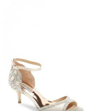 Women's Badgley Mischka 'Gillian' Crystal Embellished D'Orsay Sandal, Size 8 W - Ivory