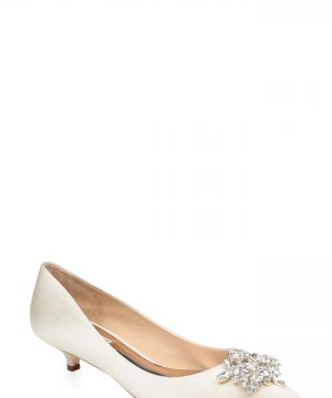 Women's Badgley Mischka Vail Embellished Kitten Heel Pump, Size 10 M - White