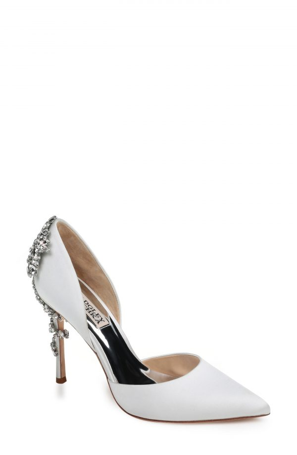 Women's Badgley Mischka Vogue Crystal Embellished D'Orsay Pump, Size 9 M - White