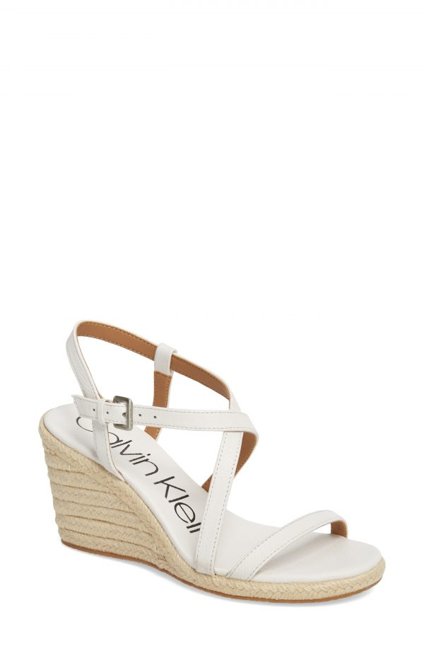 Women's Calvin Klein Bellemine Espadrille Wedge Sandal, Size 9 M - White