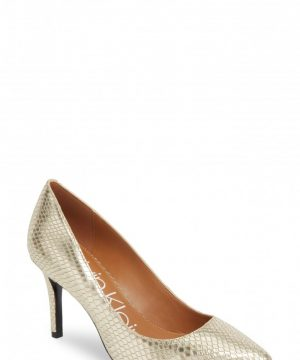 Women's Calvin Klein 'Gayle' Pointy Toe Pump, Size 11 M - Metallic