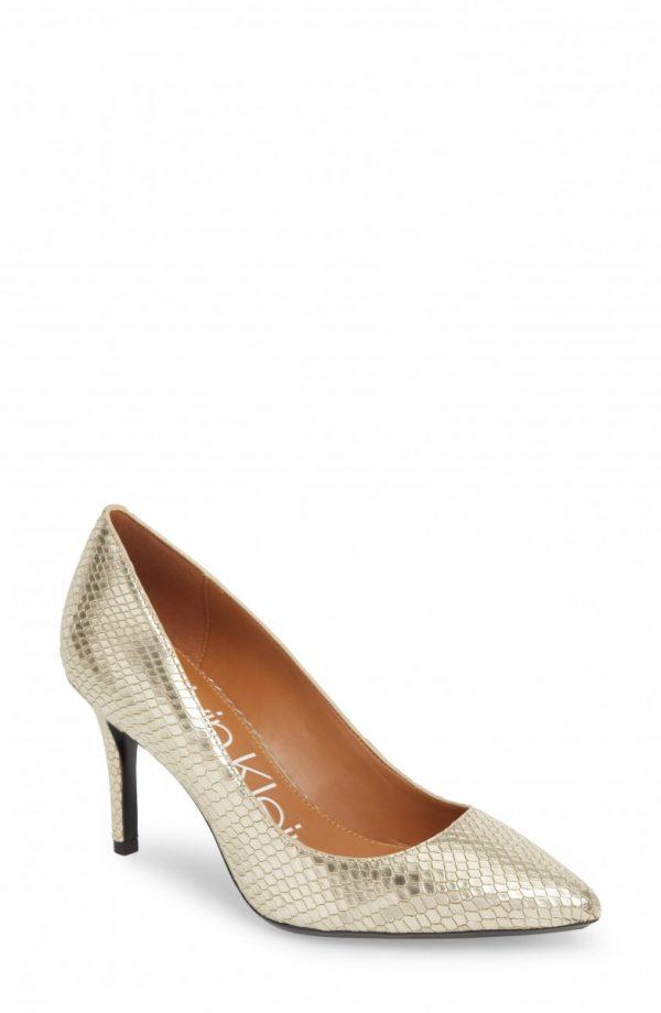 Women's Calvin Klein 'Gayle' Pointy Toe Pump, Size 11 M - Metallic