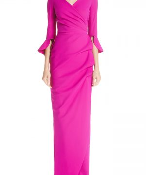 Women's Chiara Boni La Petite Robe Ruched Bell Sleeve Evening Dress, Size 10 US / 46 IT - Pink