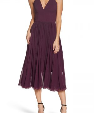 Women's Dress The Population Alicia Mixed Media Midi Dress, Size Small - Purple