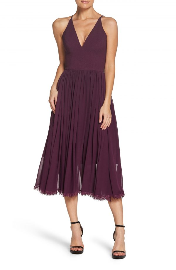 Women's Dress The Population Alicia Mixed Media Midi Dress, Size Small - Purple