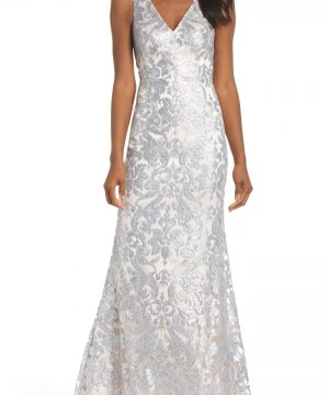 Women's Eliza J Embroidered Evening Dress