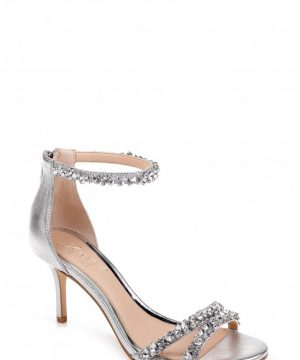 Women's Jewel Badgley Mischka Darlene Embellished Ankle Strap Sandal, Size 7 M - Metallic