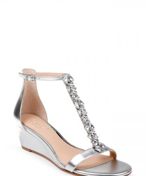 Women's Jewel Badgley Mischka Darrell Embellished Wedge Sandal, Size 9 M - Metallic