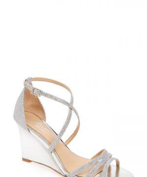 Women's Jewel Badgley Mischka Hunt Glittery Wedge Sandal, Size 8 M - Metallic