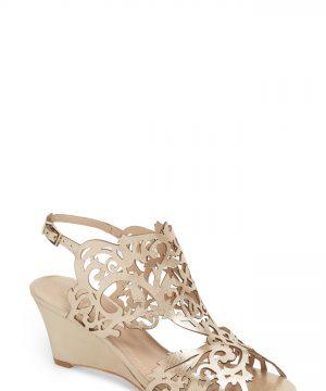 Women's Klub Nico Marcela Laser Cutout Wedge Sandal, Size 10 M - Metallic