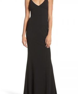 Women's Lulus V-Neck Trumpet Gown, Size Medium - Black