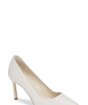 Women's Manolo Blahnik Bb Pointy Toe Pump, Size 9.5US / 39.5EU - White