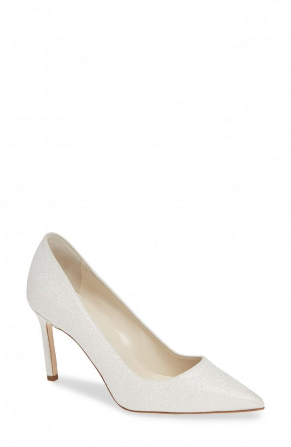 Women's Manolo Blahnik Bb Pointy Toe Pump, Size 9.5US / 39.5EU - White