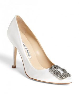 Women's Manolo Blahnik 'Hangisi' Jewel Pump, Size 10US / 40EU - White