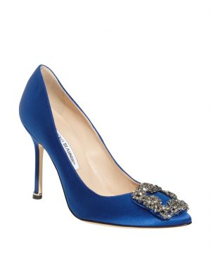 Women's Manolo Blahnik 'Hangisi' Jewel Pump, Size 9US / 39EU - Blue