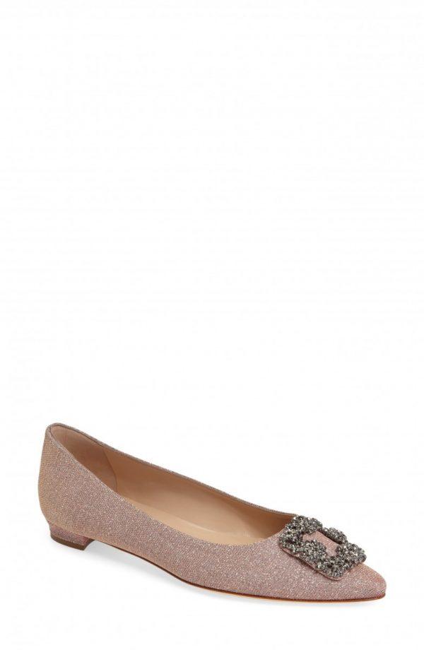 Women's Manolo Blahnik 'Hangisi' Jeweled Pointy Toe Flat, Size 11US / 41EU - Metallic