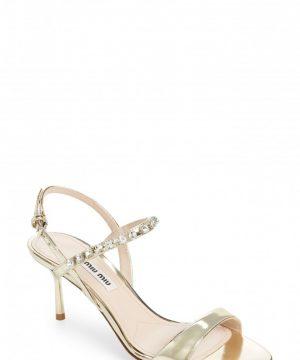 Women's Miu Miu Jewel Strap Sandal, Size 5US / 35EU - Metallic