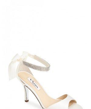 Women's Nina 'Vinnie' Crystal Embellished Ankle Strap Sandal, Size 9 M - White