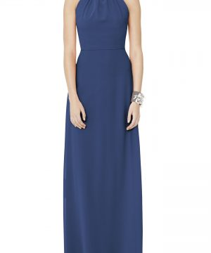 Women's Social Bridesmaids Matte Chiffon Gown, Size 10 - Blue