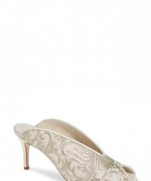 Women's Something Bleu Georgia Peep Toe Mule, Size 7 M - White