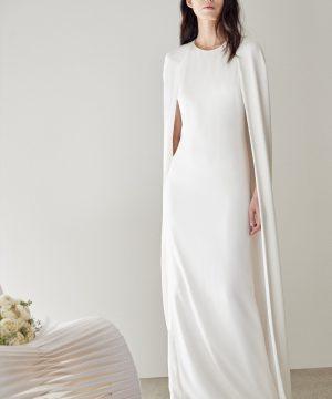 Women's Stella Mccartney Violet Cape Sheath Gown