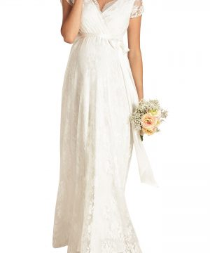 Women's Tiffany Rose Eden Lace Maternity Gown, Size 0 - White