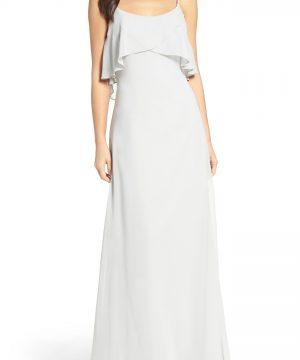 Women's Wtoo Ruffle Overlay Spaghetti Strap Chiffon Gown, Size 8 - Green