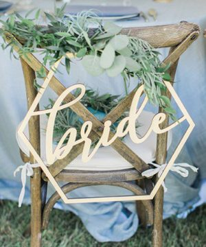 Wood Geometric Bride & Groom Chair Signs