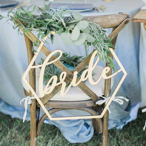 Wood Geometric Bride & Groom Chair Signs