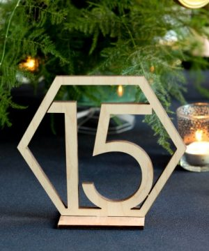 Wood Geometric Table Numbers