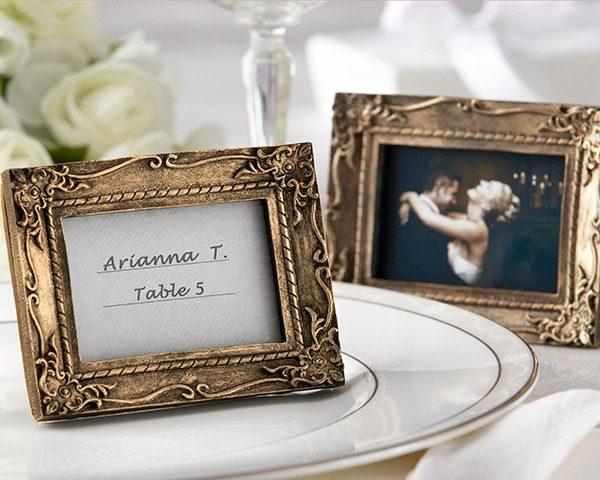 """Work of Art"" Antique-Finish Place Card Holder/Photo Frame"