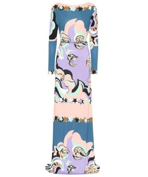 Belted printed maxi dress