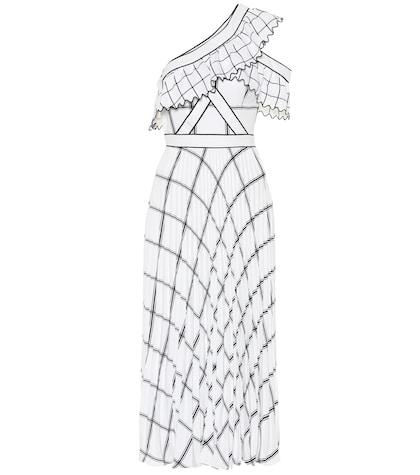 Checked crêpe maxi dress