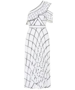 Checked crêpe maxi dress