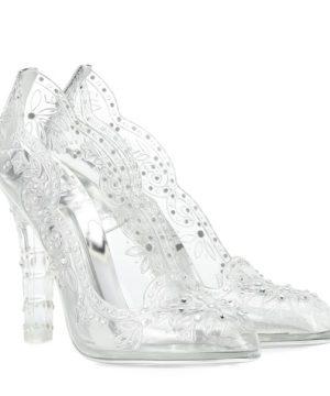 Cinderella embellished transparent pumps