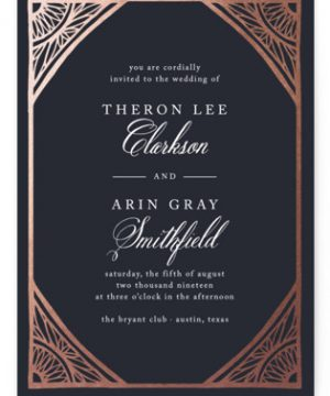 Deco Corners Foil-Pressed Wedding Invitations
