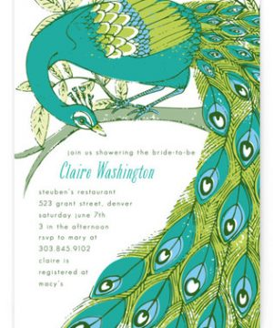 Elegant Peacock Bridal Shower Invitations