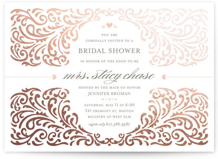Elegant Piping Foil-Pressed Bridal Shower Invitations