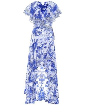Embellished silk maxi wrap dress