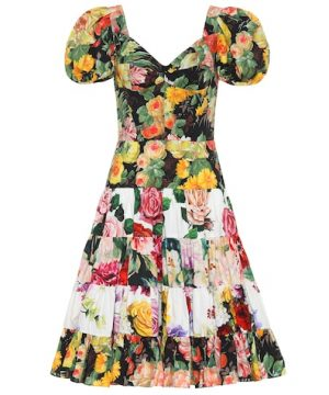 Floral-printed cotton dress